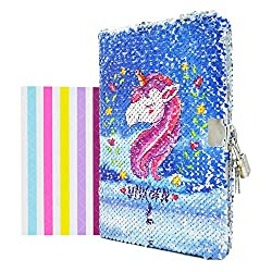 Unicorn-blue Notebook Diary with Lock and Key Flip Sequin