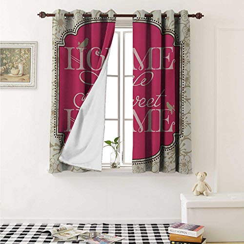 - shenglv Home Sweet Home Waterproof Window Curtain Housewarming Welcoming Theme Typography Antique Frame with Flowers and Birds Curtains Living Room W55 x L45 Inch Pink Tan