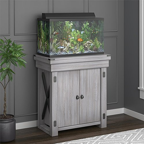 Ameriwood Home Wildwood Aquarium Stand, 20 gallon, Rustic White (Stand Combo Fireplace Tv Oak)