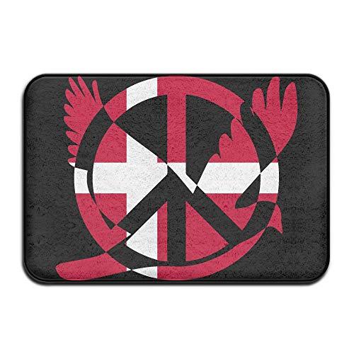 Denmark Flag Peace Sign Symbol Indoor Outdoor Entrance Rug Non Slip Tub Mat Doormat Rugs Home by HONMAt-Non