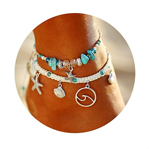 (FINETOO 2Pcs Turquoise Starfish Rope Braided Adjustable Star Shell Boho Anklet Set Charm Gifts for Women and Girls )
