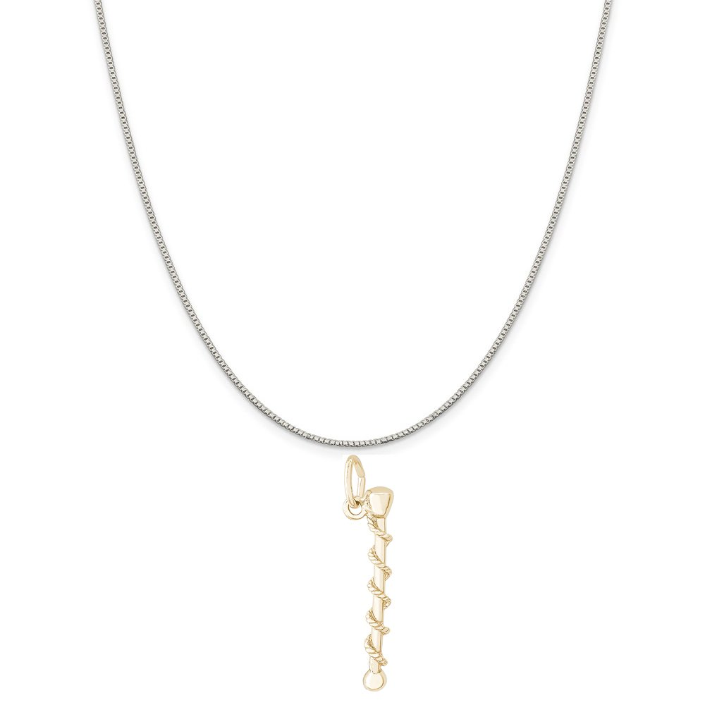 Rembrandt Charms Two-Tone Sterling Silver Baton Charm on a Sterling Silver 16 18 or 20 inch Rope Box or Curb Chain Necklace