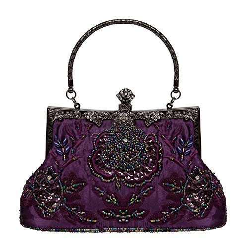 Small Handbag ECOSUSI Seed Vintage Bag Clutch Wedding Sequin Purple Bag Evening Beaded Purse Rose Shoulder RTpqT5x