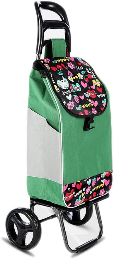 Color : Black LBY Stylish Portable Folding Trolley Car Detachable Wear Wheel Shopping Trolley
