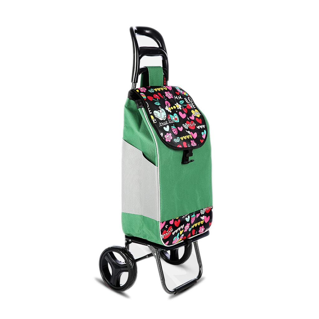 Gflyme Stylish Portable Folding Trolley car Detachable wear Wheel Double Plug Buckle (Color : Green)
