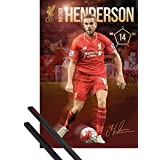 Poster + Hanger: Football Poster (36x24 inches) Liverpool, Henderson And 1 Set Of Black 1art1® Poster Hangers