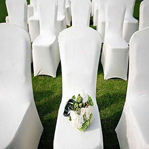 バルジ100個ホワイトポリエステル宴会椅子カバーSlipcoversウェディングパーティーレセプション用デコレーション_ USストック   B077T68Q45