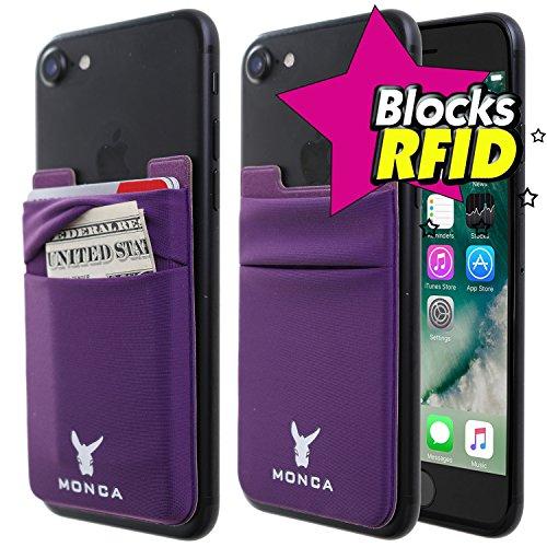 Monca RFID Blocking [Double Secure] Cell Phone Credit Card Holder Stick on Wallet Cash Metro Card ID Holder Lycra Spandex Card Sleeves [Lid & Pocket] (RFID Purple)