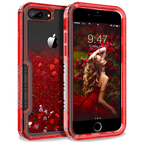 Dexnor Compatible with iPhone 6 Plus/ 6S Plus/ 7 Plus/ 8 Plus Case Floating Glitter Bling Moving Liquid Quicksand Hard Cover Clear Thickened Dual Layer Full Protection Bumper for Girls/ Women - Red