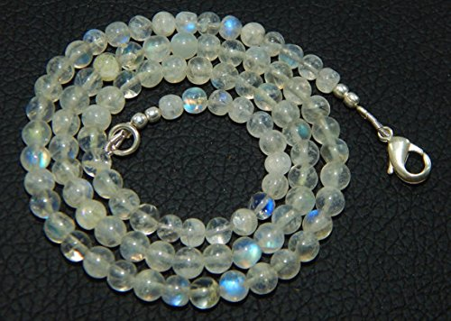 4-5 mm 17'' blue flashy Smooth Rainbow Moonstone Round Beaded Necklace (Necklace Beaded Ruby)