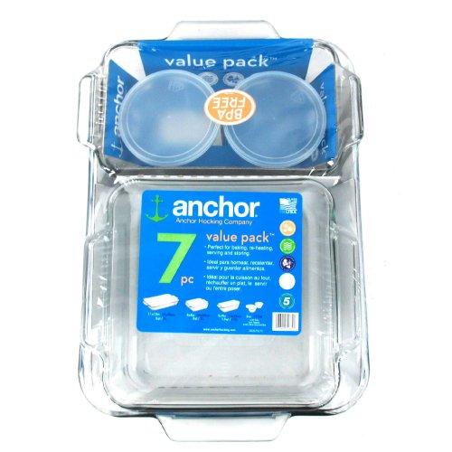 Anchor Hocking 7-Piece Value Pack Glass Bakeware Set- 82675L9