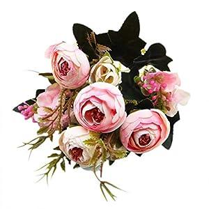 Silk Flowers,Decoration Vintage Artificial Tea Plum Bouquet (Pink) 46