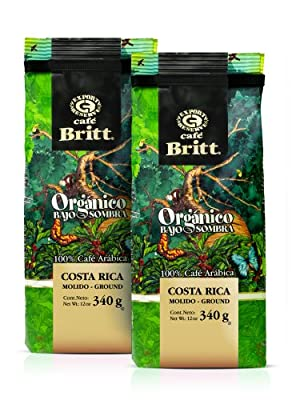 Cafe Britt Costa Rica Organic Shade Grown Ground Coffee, 12-Ounce Bags (Pack of 2) by Cafe Britt