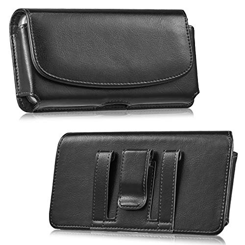 LUXMO Horizontal Leather Belt Holster Phone Case, Genuine Leather Belt Clip Pouch Carrying Cover Case with Magnetic Closure for iPhone 8 Plus 7 Plus 6s Plus 6 Plus Galaxy S6 S7 Edge (Black)