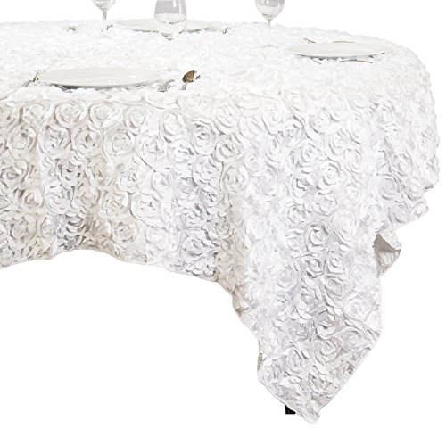 LinenTablecloth Rosette Satin Square Overlay Tablecloth, 85-Inch, White