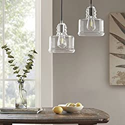 Clear Glass Shade Pendant Light Fixtures - London 2 Pack Bell Shaped Overhead Light - Ceiling Hanging Kitchen Light with Brush Gunmetal Housing - By Capella