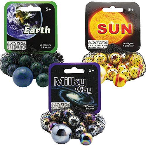 Mega Marbles 3 Pack - Sun, Earth, & Milky Way Game Nets - Includes 1 Shooter Marble & 24 Player Marbles Per Net ()