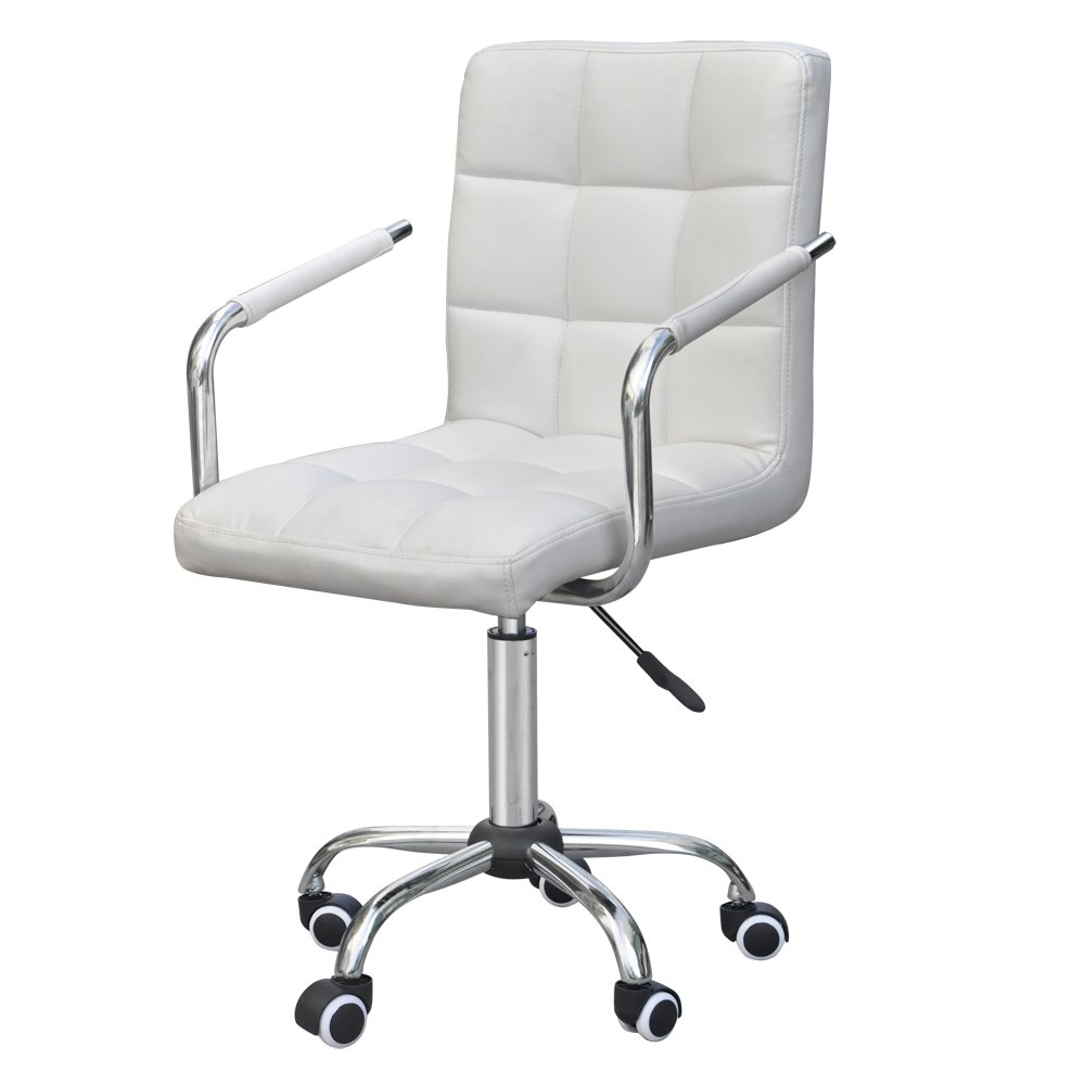 amazoncom gotobuy white modern office leather chair hydraulic swivel executive computer desk task chair kitchen u0026 dining