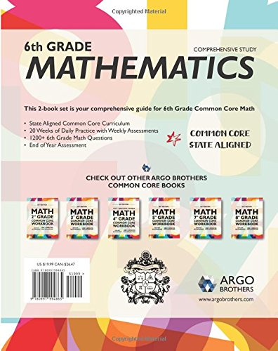 Argo Brothers Math Workbook, Grade 6: Common Core Math Multiple ...