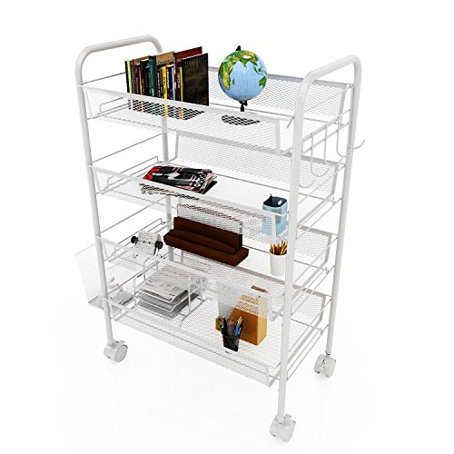 Ferty 4-Tier Wire Metal Mesh Rolling Cart with Four Flexible Casters for Serving Utility Organization at Office and Home (Towable Bag Storage)