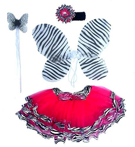 [Girls Zebra Fairy Costume with Wings, Tutu, Wand and Headband] (Zebra Head Costumes)