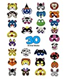 DUOPHY 30 Piece Foam Animal Masks Children's Day Halloween Christmas Costume Photo Props Dress-up Party