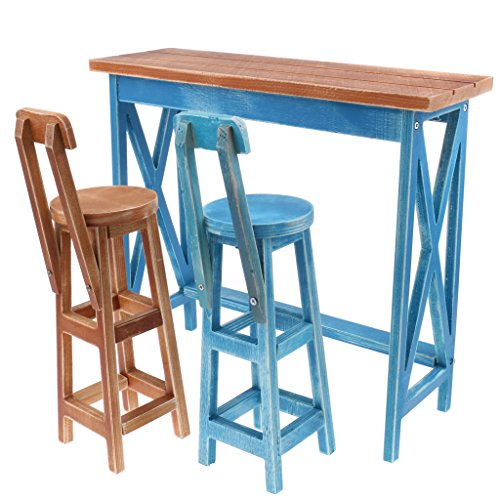 Baoblaze Miniature Wooden Bar Table Chair Furniture Set for Dollhouse 1/4 BJD DOD DZ Tonner 16-18inch Doll Accessories Blue