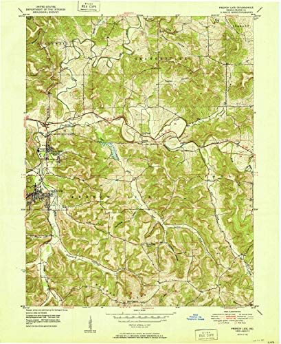 YellowMaps French Lick in topo map, 1:24000 Scale, 7.5 X 7.5 Minute, Historical, 1951, 26.9 x 22 in - Paper