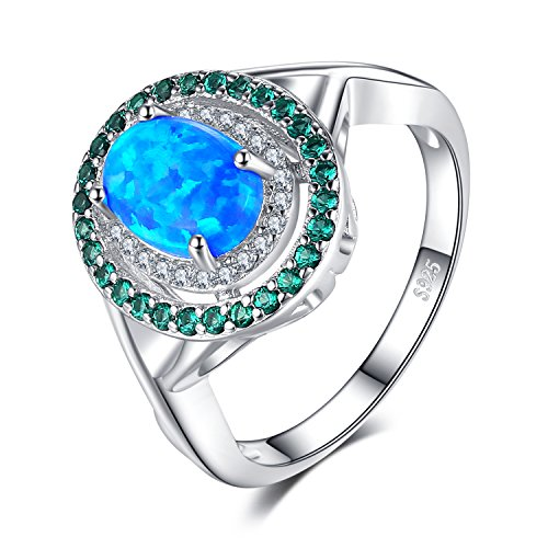 (JewelryPalace Fashion 1ct Oval Created Opal Round Simulated Nano Russian Emerald Cocktail Ring 925 Sterling Silver Size 8)