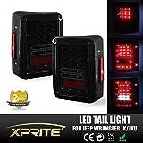 Xprite LED Tail Light Black with Smoke Lens For Jeep Wrangler JK JKU 2007 - 2016