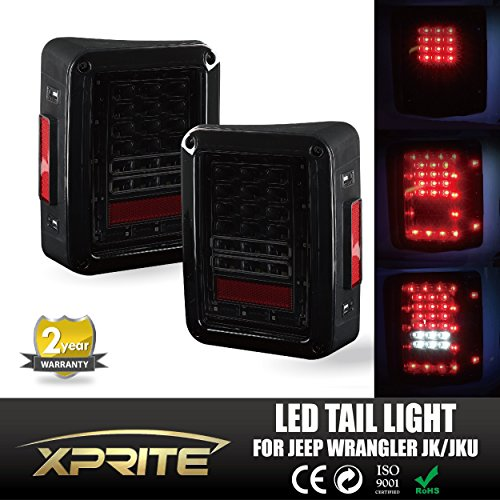 Xprite Smoke Lens Red LED Tail Light Assembly w/ Turn Signal & Back Up For Jeep Wrangler JK JKU 2007 - 2017 (Jk Led Tail Lights compare prices)