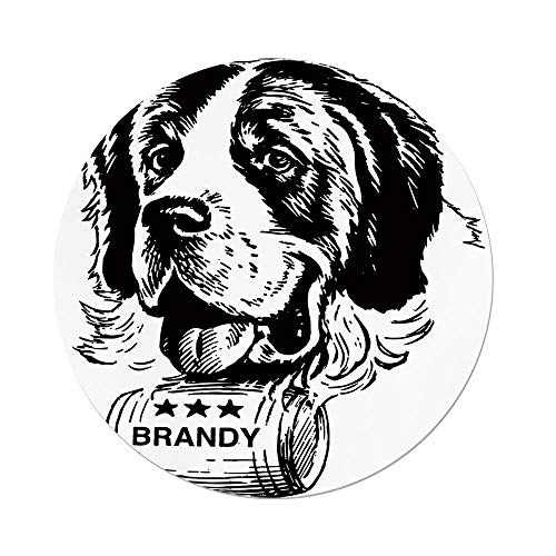 iPrint Polyester Round Tablecloth,Man Cave Decor,Sketch Saint Bernard Rolling a Keg Brandy Whiskey Stars Retro Decorative,Black White,Dining Room Kitchen Picnic Table Cloth Cover Outdoor ()
