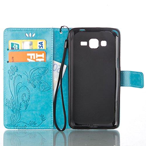 JIALUN-Personality teléfono shell Funda Samsung Galaxy G350, estuche rígido retro de folio en forma de cartera con correa para la mano Funda Protecitve Shell para Samsung Galaxy G350 Seguridad y Moda  Blue