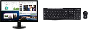 "Acer K202HQL Abi 19.5"" HD Monitor, Black, 19.5 Inch & Logitech MK270 Wireless Keyboard and Mouse Combo - Keyboard and Mouse Included (Frustration-Free Packaging)"