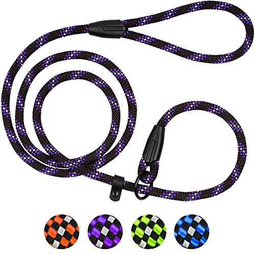 BronzeDog Rope Dog Leash 6ft Mountain Climbing Training Slip Show Lead Braided Reflective Leashes for Small Medium Large Dogs (S/M Slip Show Lead, Purple)