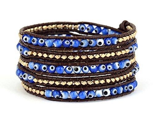 grec mauvais œil Bracelet cuir Wrap avec perles Doré