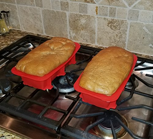 Silicone Bread and Loaf Pan Set of 2 Red, Nonstick, Commercial Grade Plus Homemade Bread Making Recipe Ebook by Silicone Designs (Image #7)