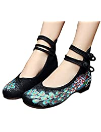 TIANRUI CROWN Women and ladies' The Peacock Embroidery Spangly Beading Girls Platform Prom Dress Shoes