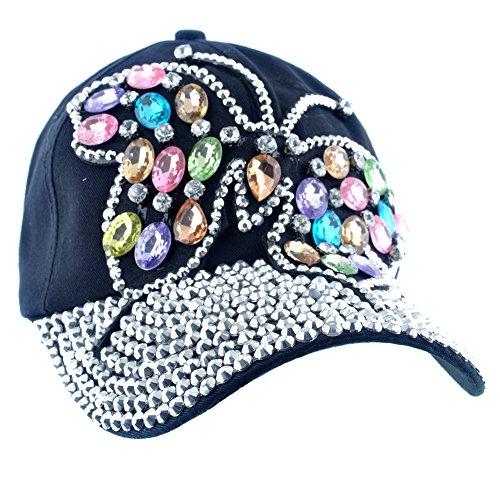 Elonmo Cute Big Butterfly Baseball Cap Jewel Rhinestone Bling Hats Jeans Wash Denim (Black)