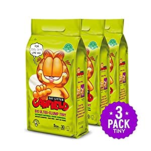 Garfield Cat Litter All Natural, Fast clumping, Purrfect for Multi-cat Homes | DUST Free, Chemical Free, Clay Free | Biodegradable & Flushable. Tiny Grains, 15 lbs.