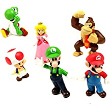 Super Mario Bros Figures - 6 Pcs Set PVC Action Characters Toys by SMB