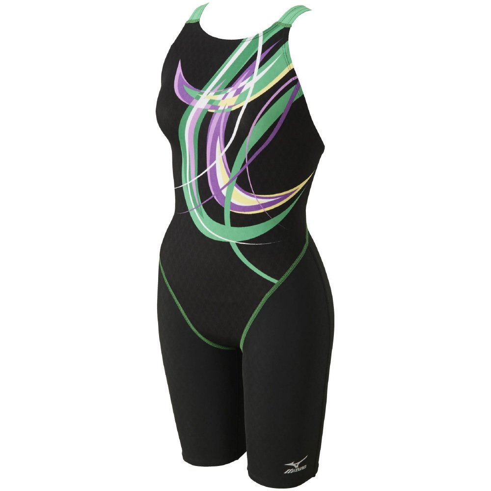 MIZUNO(ミズノ) 競泳水着 レディース ストリームアクティバ ハーフスーツ (オープン) FINA承認 N2MG7746 B073JPJQCM XL 93:ブラック×グリーン 93:ブラック×グリーン XL