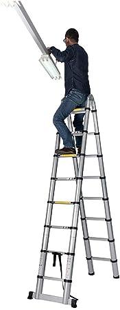 TIZI000 Escalera Telescópica Extensible 5.2M De múltiples Fines Aluminio Plegable Bricolaje Extensión Escalera de Tijera (Capacidad de Carga 150kg): Amazon.es: Hogar