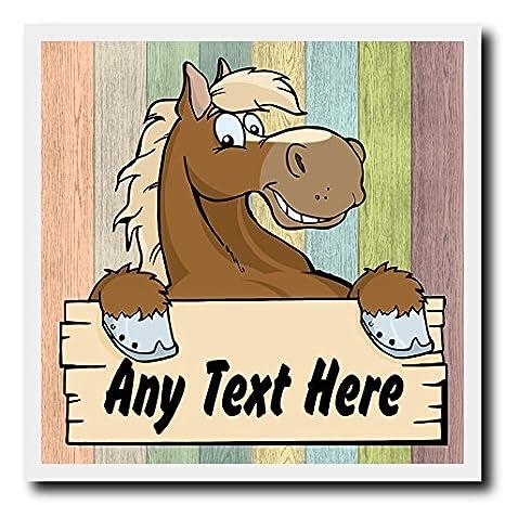 Madera Pastel caballo de dibujos animados pared cuadrada puerta valla puerta casa signo placa: Amazon.es: Oficina y papelería