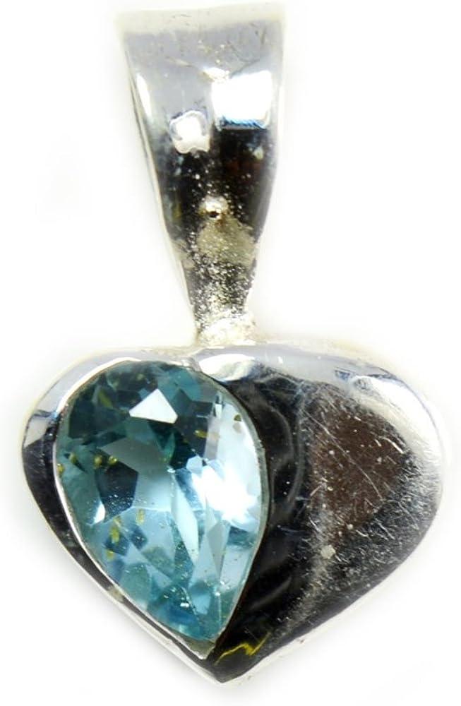 GemsOnClick - Colgante de Plata de Ley 925 con diseño de corazón y topacio Azul con Forma de Pera Natural