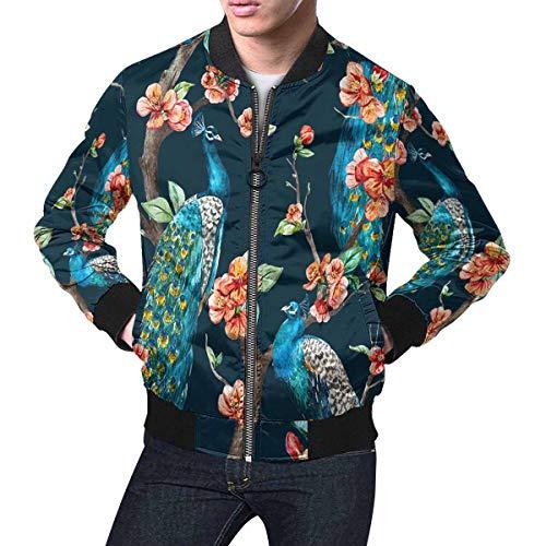 INTERESTPRINT Men's a Tree Cherry, Flowering Trees, Tree with Flowers Bomber Jacket Short Blazer Outfit M (Bomber Mens Short)