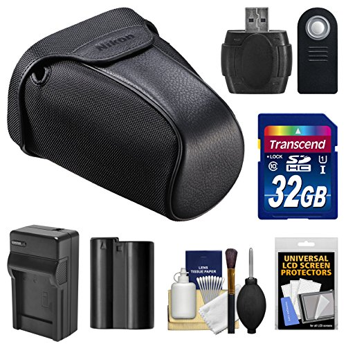 Nikon CF-DC3 Semi-Soft Digital SLR Camera Holster Case with 32GB Card + Battery + Charger + Remote + Kit for D7000, D7100 & D7200