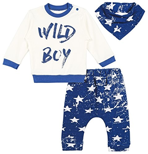 Lilax Baby Boy Long Sleeve Wild Boy Print Top, Star Pants and Bandana 3 Piece Set 12M Blue