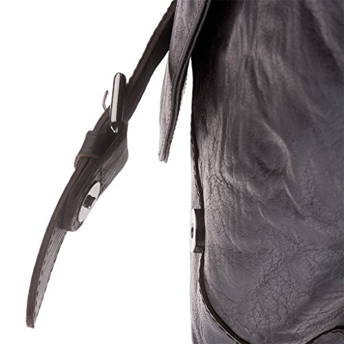 Bolso bandolera Messenger de verdadera piel arrugada Vintage Retro DUDU Marron oscuro