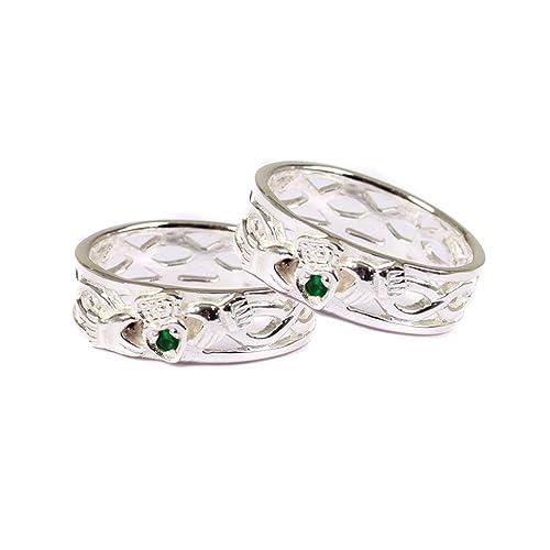 Claddagh verde esmeralda piedra conjunto anillo de bodas ...